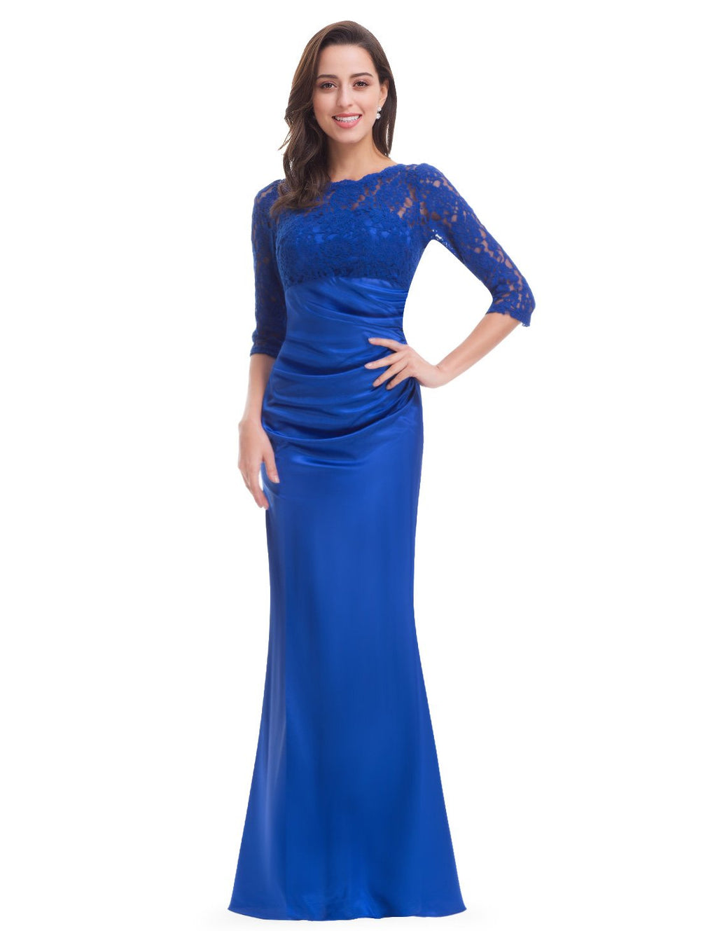 Long Lace Evening Gown Sapphire Blue