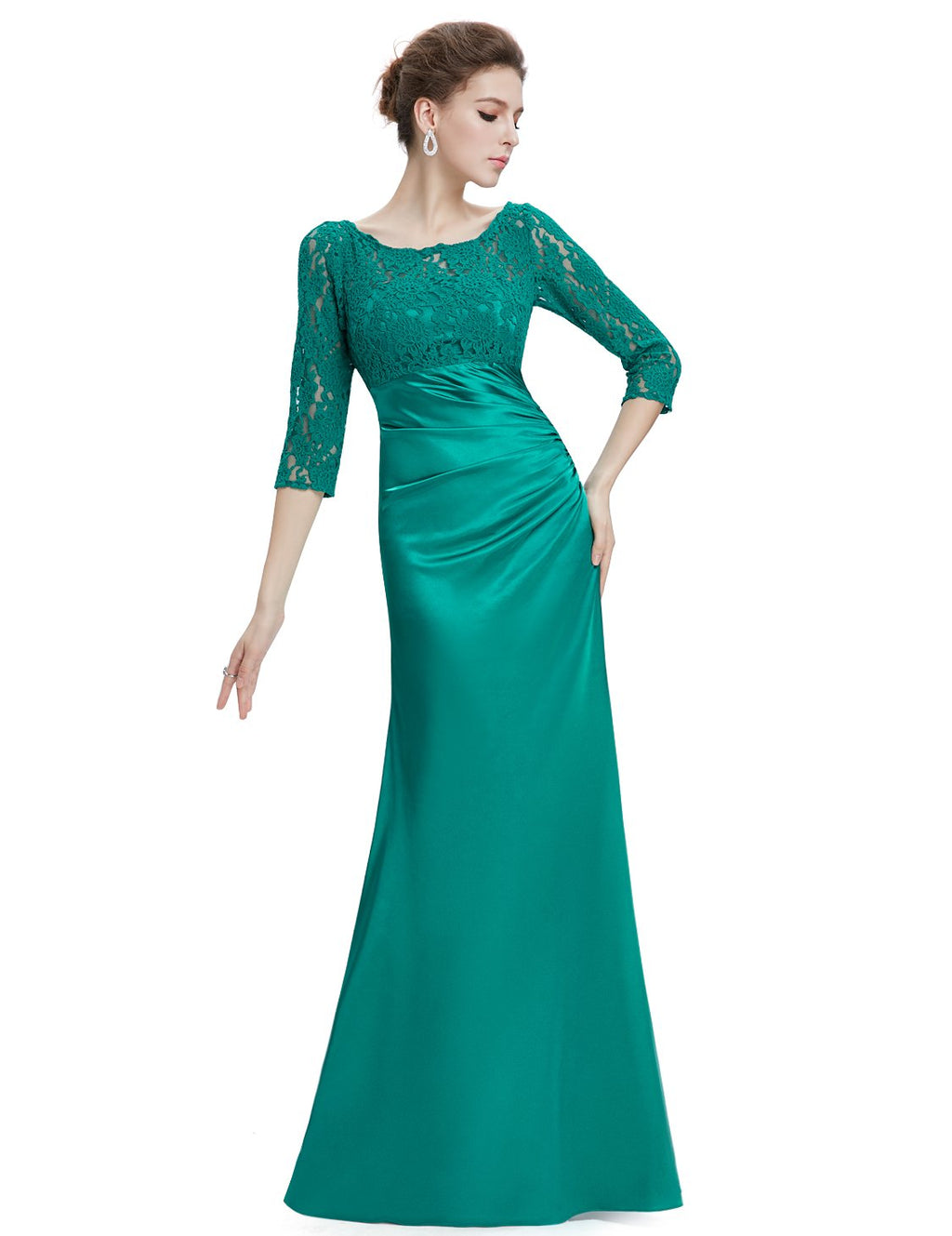 Long Lace Evening Gown Green
