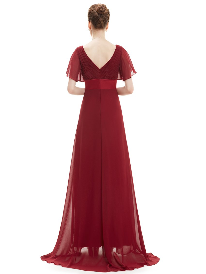 Ruffles V Neck Long Dress Burgundy