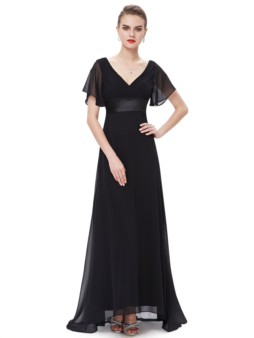 Ruffles V Neck Long Dress Black