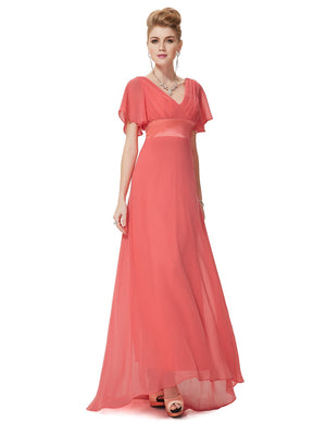 Ruffles V Neck Long Dress Coral