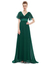 Ruffles V Neck Long Dress Dark Green