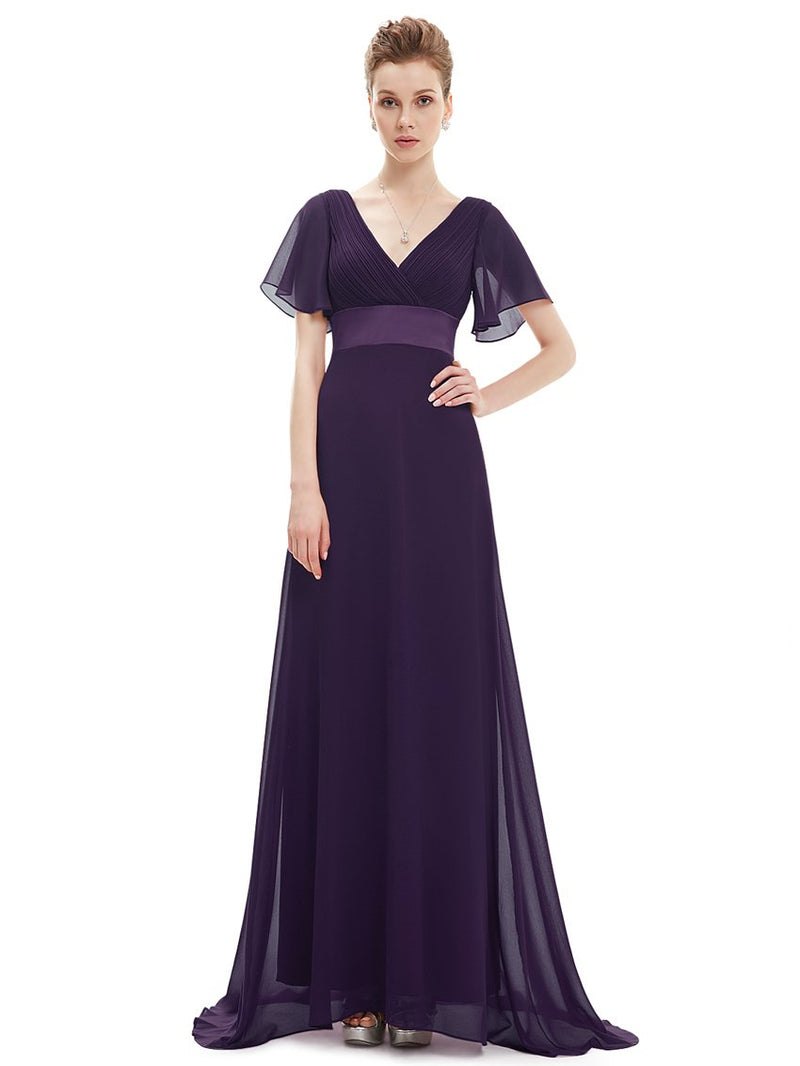 Ruffles V Neck Long Dress Dark Purple