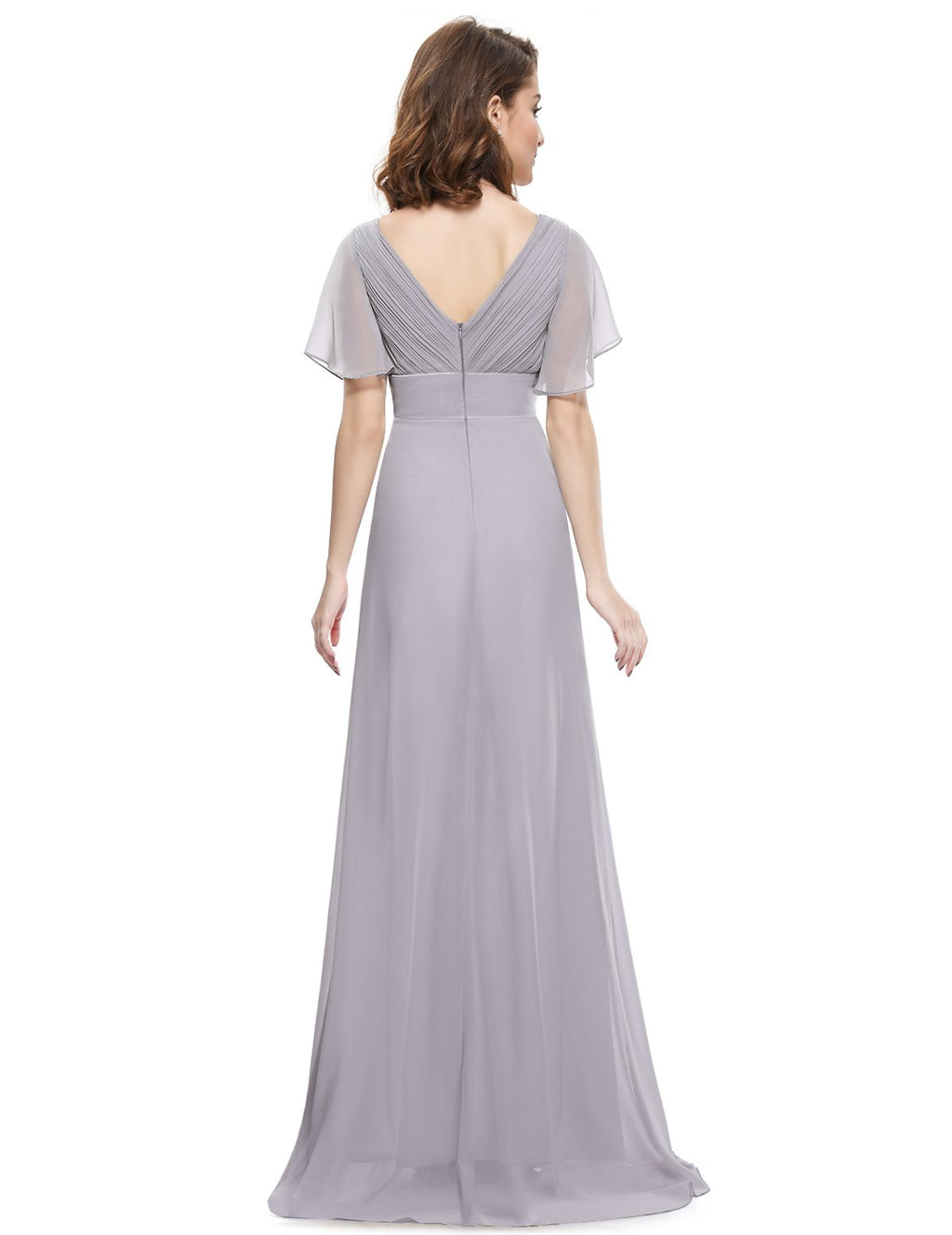 Ruffles V Neck Long Dress Grey