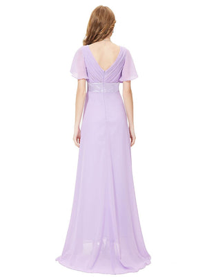 Ruffles V Neck Long Dress Light Purple