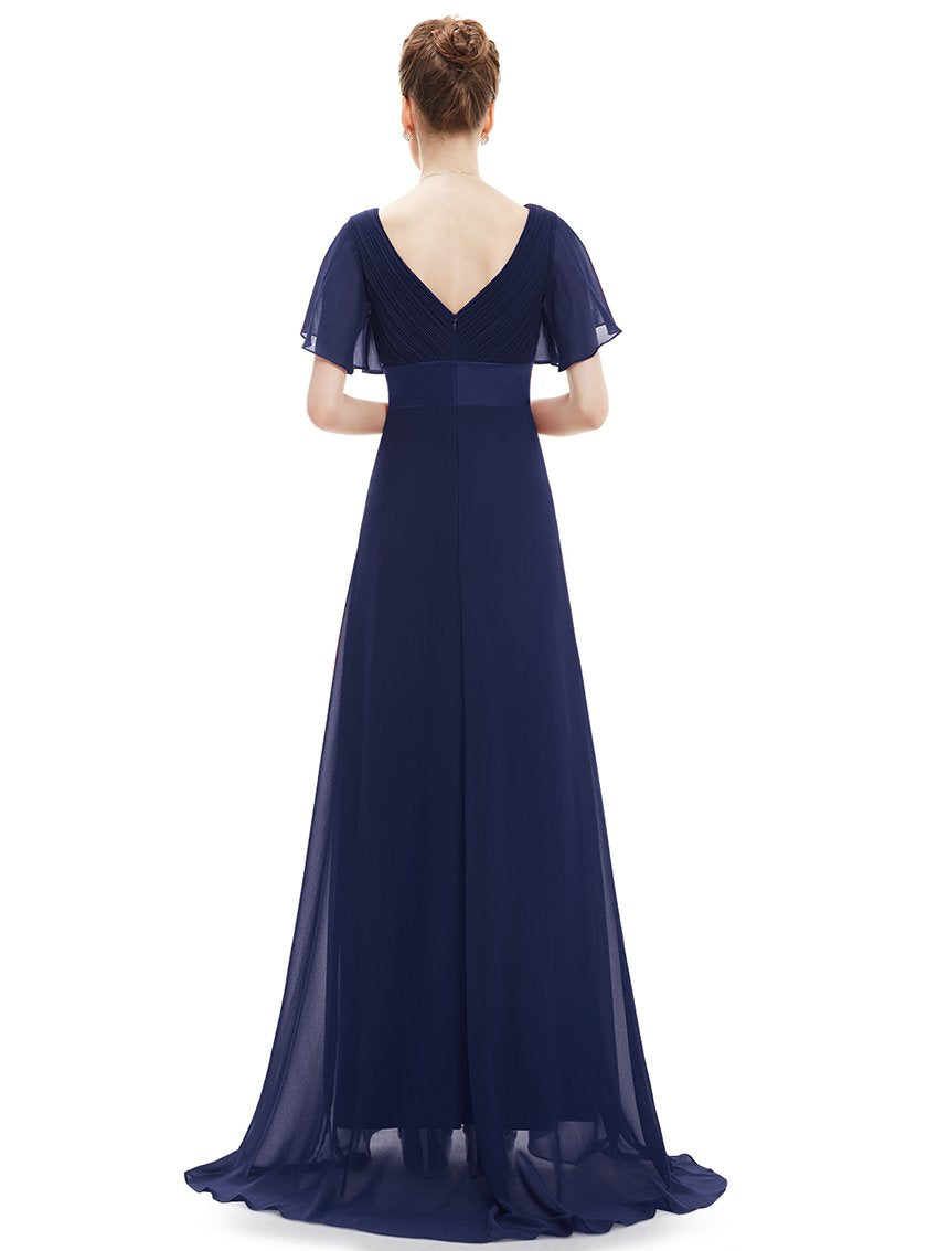 Ruffles V Neck Long Dress Navy Blue