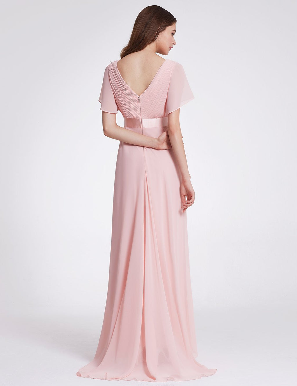 Ruffles V Neck Long Dress Pink