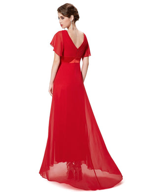 Ruffles V Neck Long Dress Red