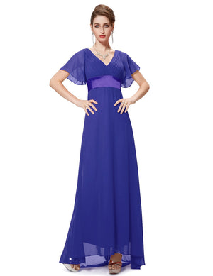 Ruffles V Neck Long Dress Sapphire Blue
