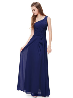Charming Slit Long Gown Navy Blue