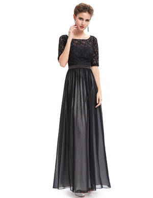 Half Sleeves Sexy Back Long Gown Black