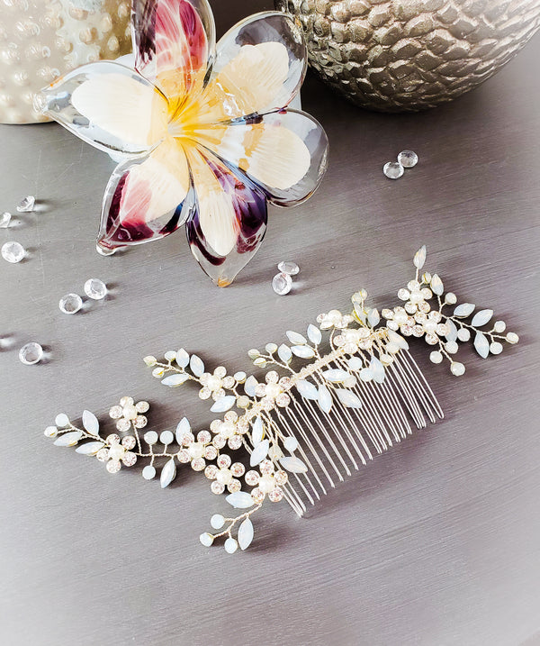 Forget Me Not Crystal Comb