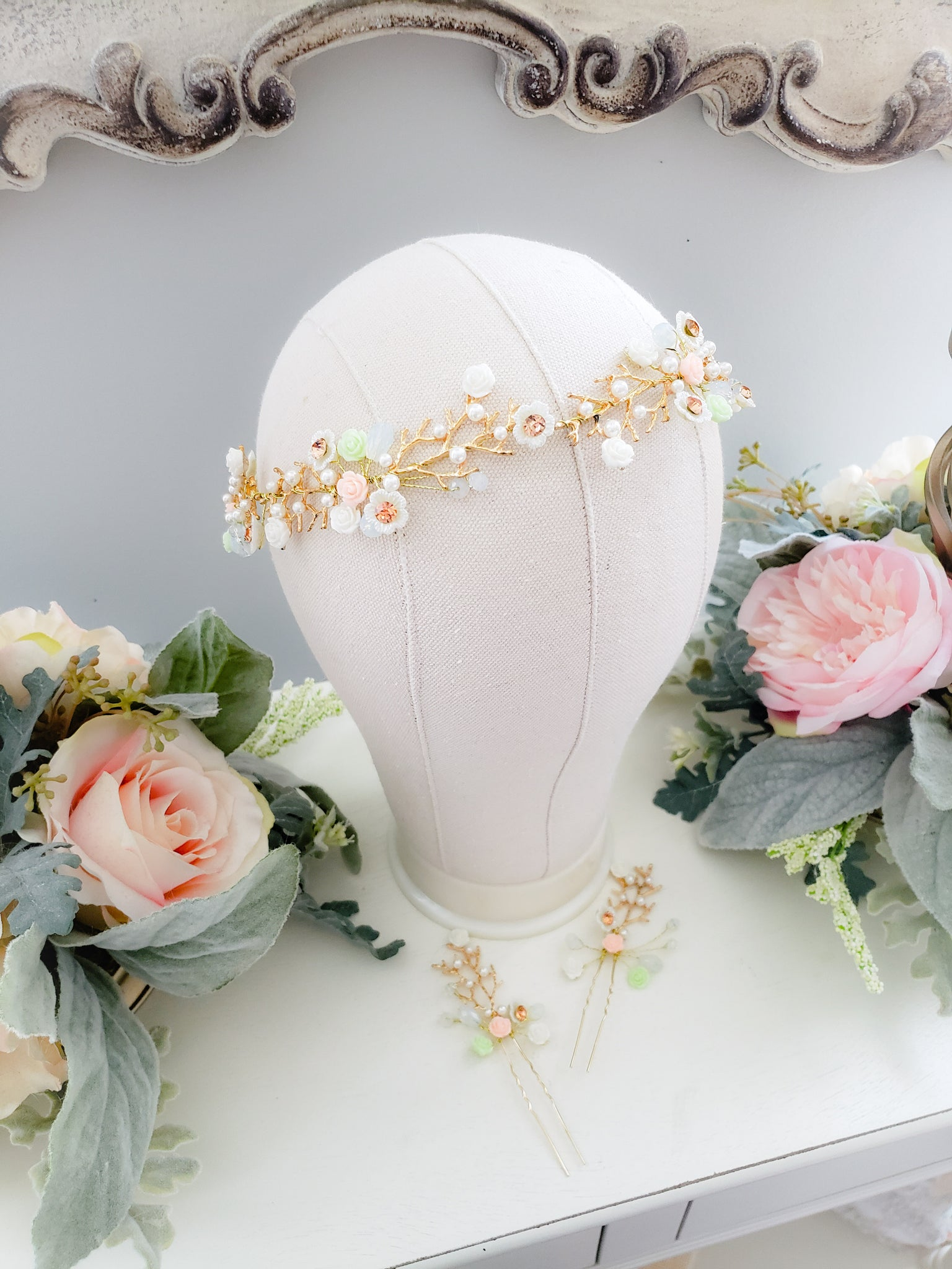 Blush Rosette Headband and Pins Set