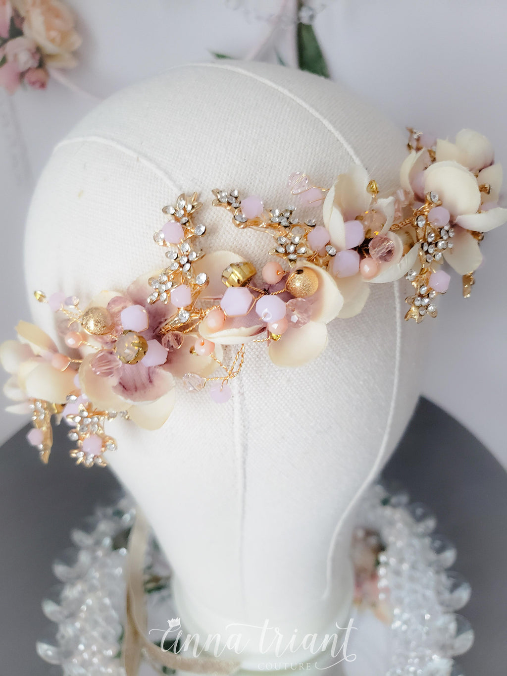 Blush & Gold Floral Headband