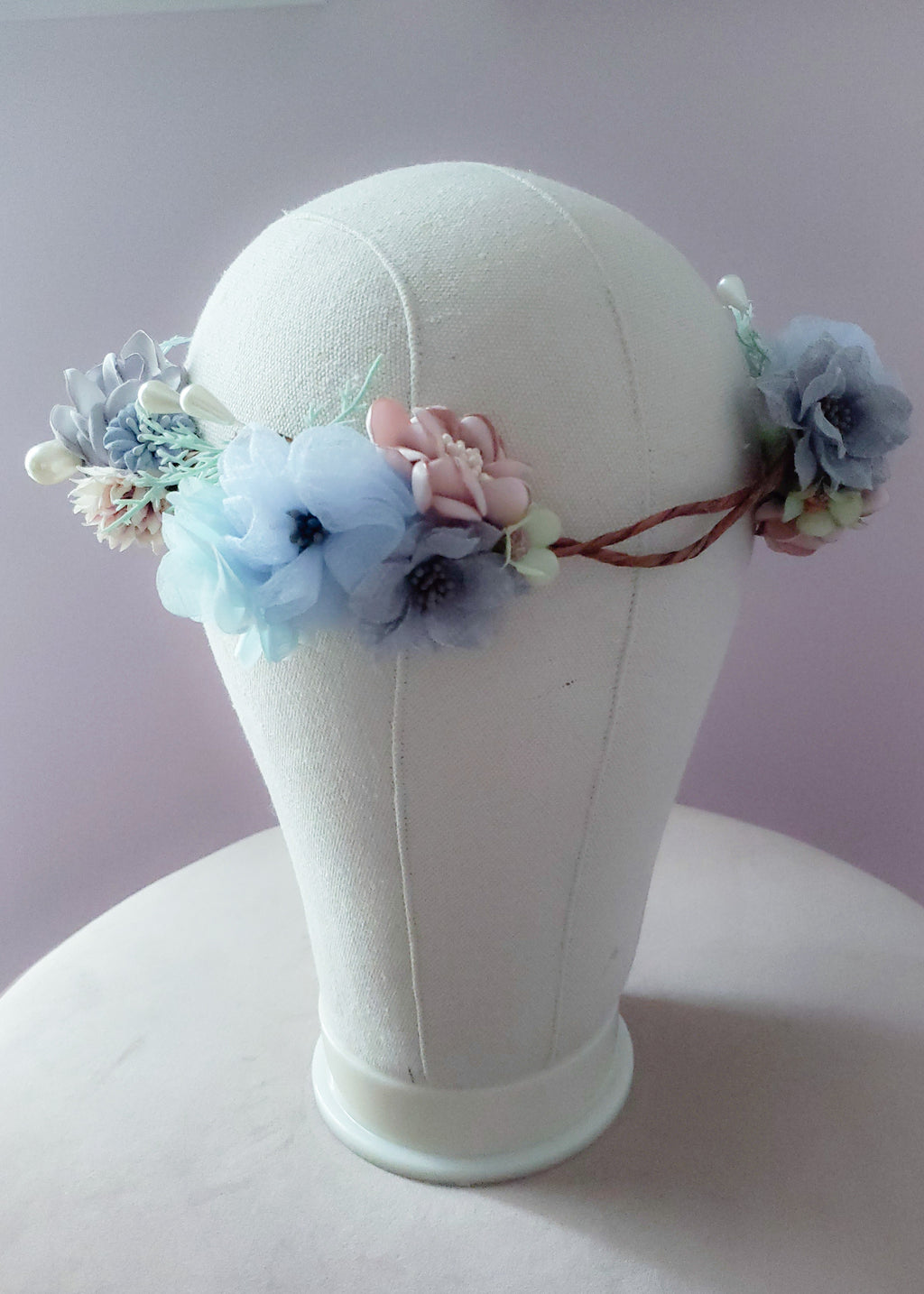 Dusty Blue & Blush Floral Crown