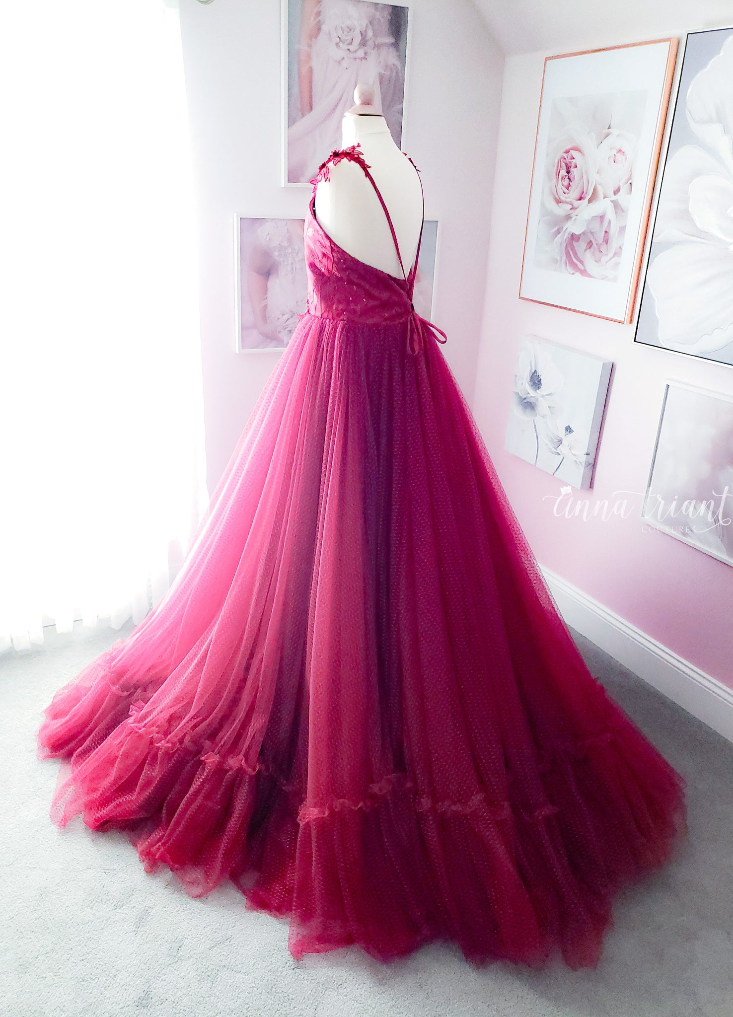 Crimson Poise Gown and Cape
