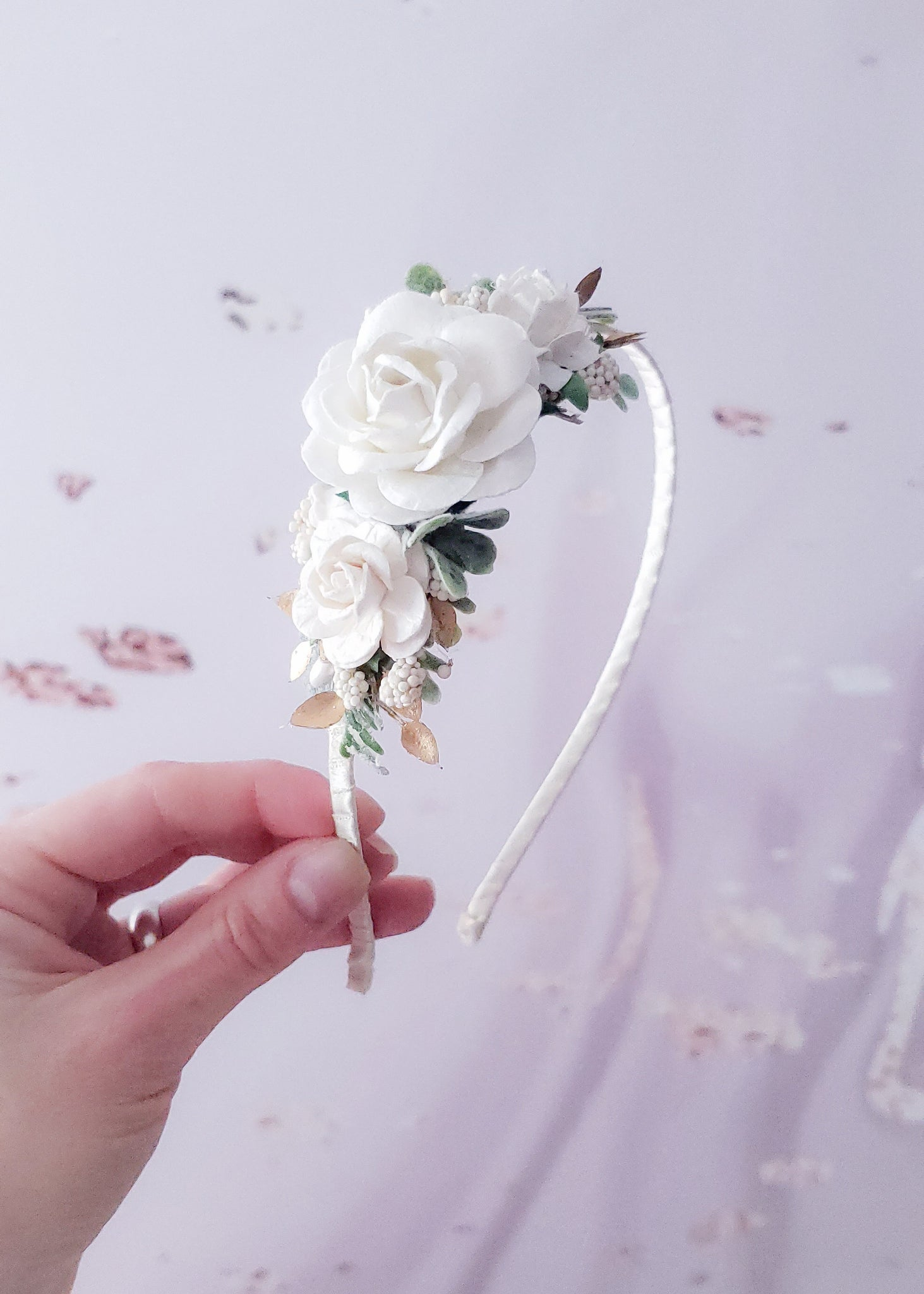 Off White Floral Satin Headband
