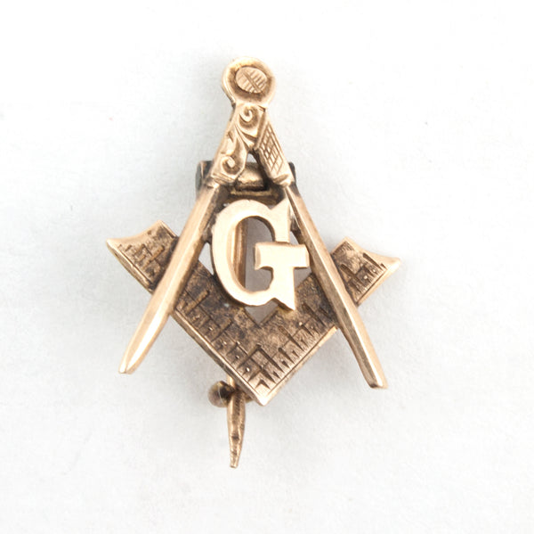 "Antique Masonic ""G"" Tie Tack Lapel Pin 14K Gold Compass & Square"