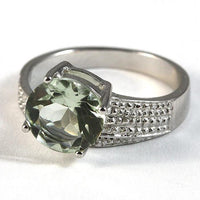 2.5 Carat Green Amethyst Sterling Ring Genuine Diamond Accent