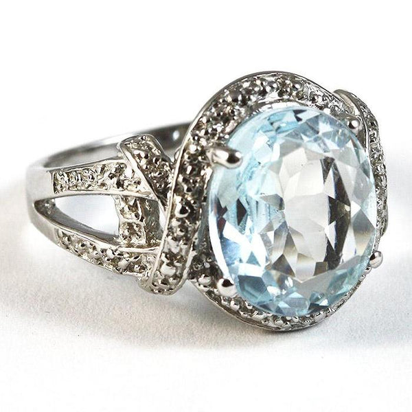 5.6 Carat Blue Topaz and Diamond Ring Platinum over 925 Sterling Silver
