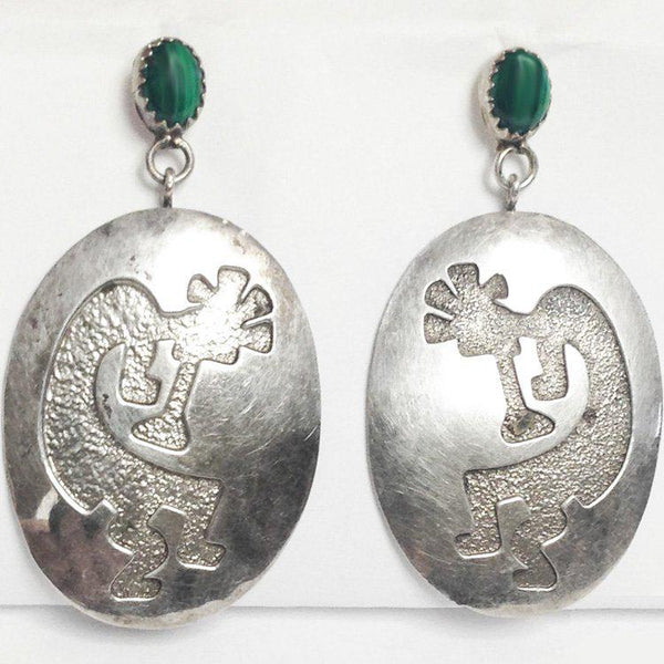 Kokopelli Hopi Southwest Malachite Earrings