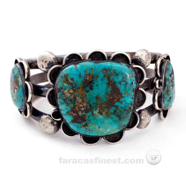 Vintage Old Pawn Navajo Sterling Silver Turquoise Cuff Bracelet