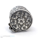 Antique Sterling Silver Thimble Holder Floral Flower Repousse Necklace Pendant