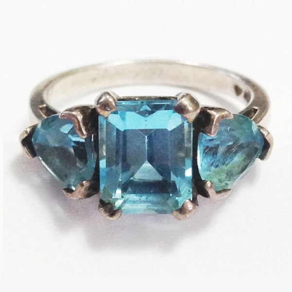 Sterling Silver Ring Vintage Aquamarine