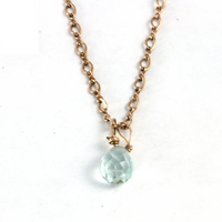 Aquamarine Teardrop 14K Yellow Gold Necklace