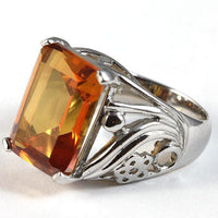 Azotic Topaz Platinum over Sterling Ring 12.6 Carat