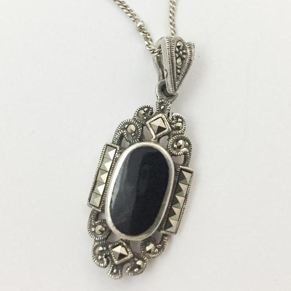 Black Onyx Marcasite Sterling Silver Necklace