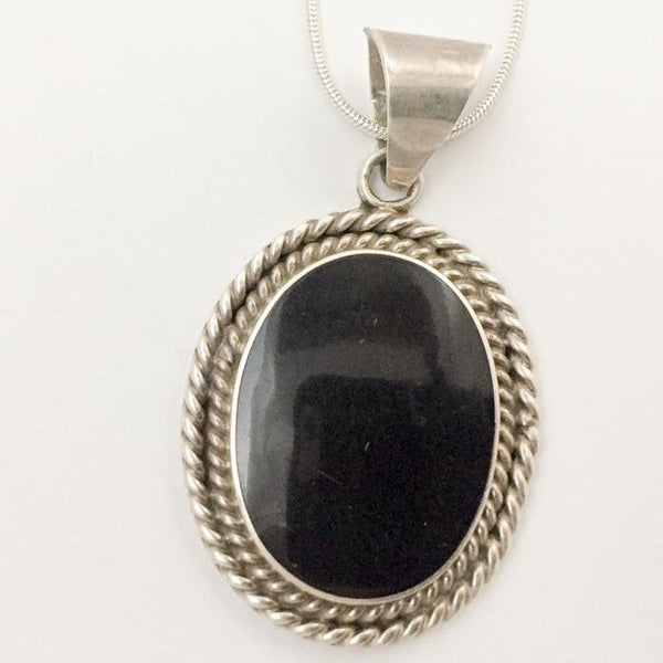 Heavy Oval Black Onyx Rope Necklace - Sterling Silver