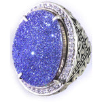 Blue Sparkle Sand Sterling Silver Ring 925 CZ