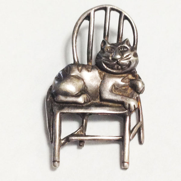Vintage Taxco Sterling Silver Pin Brooch Cat on Chair