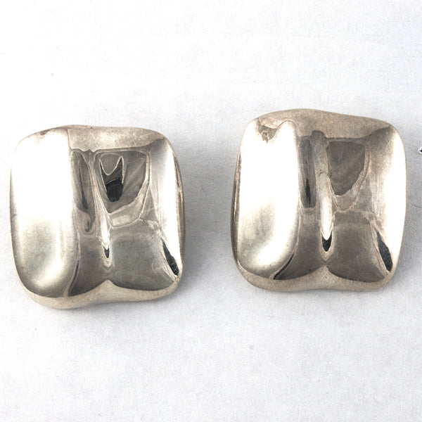 Chunky Sterling Silver Square Earrings