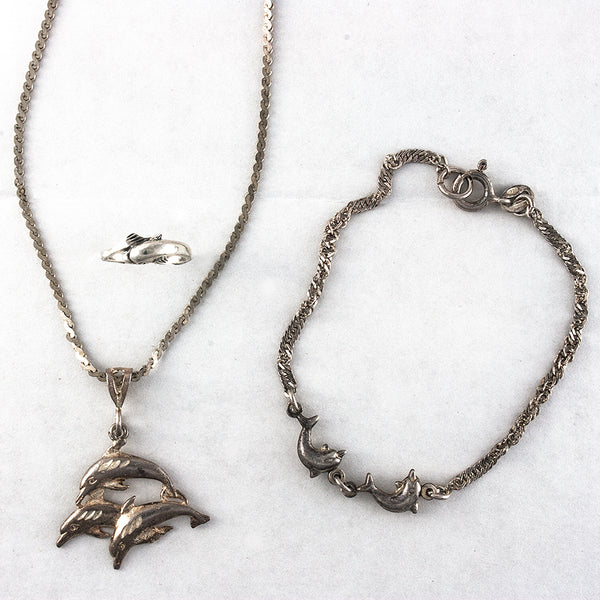 Dolphin Necklace Toe Ring and Bracelet Set - Sterling Silver