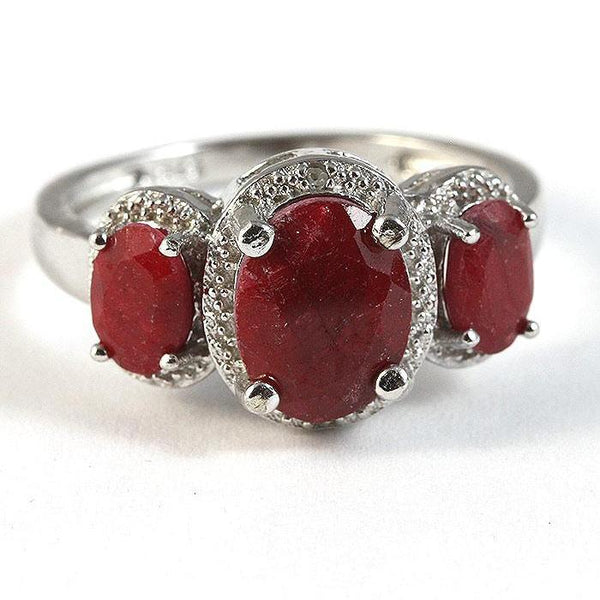 Triple Dyed Genuine Ruby Ring with Diamonds 925 Sterling