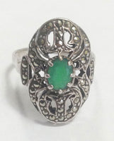 Vintage Sterling Silver Emerald Filigree Marcasite Ring front