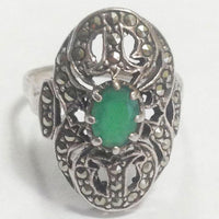 Vintage Sterling Silver Emerald Filigree Marcasite Ring