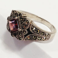 Vintage Sterling Silver Garnet Ring side 2