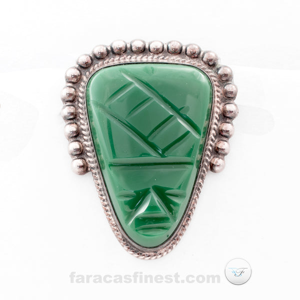 Green Onyx Carved Face Pin Sterling Silver 925 CJB DIAZ SANTOYO