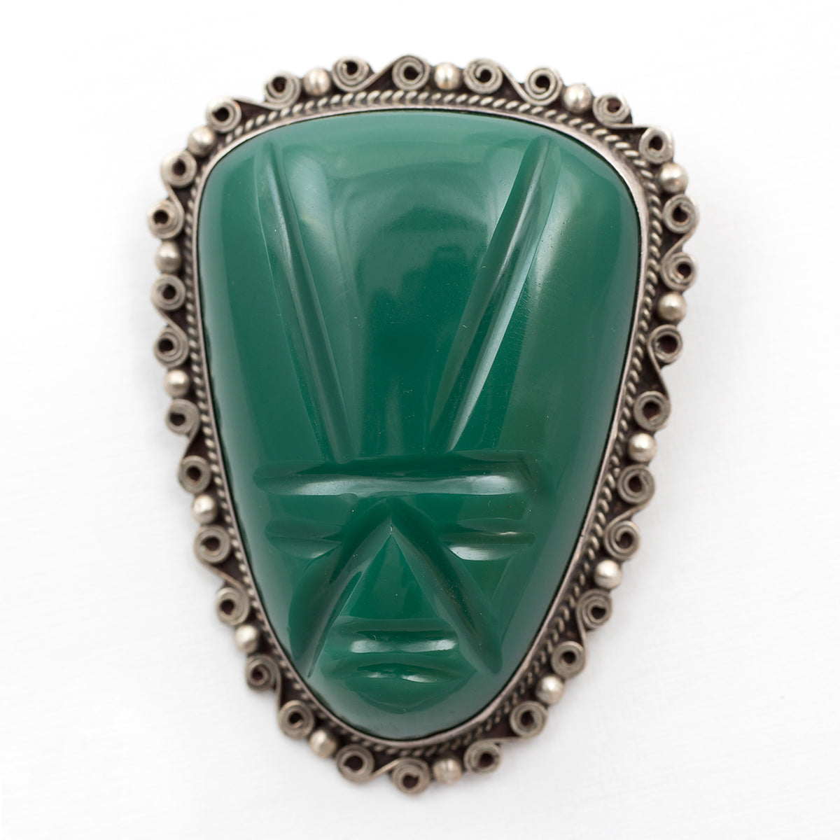 f281ab044e347 Green Onyx Face Mask Large Hand Carved Sterling Silver Pin