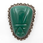 Green Onyx Face Mask Large Hand Carved Sterling Silver Pin