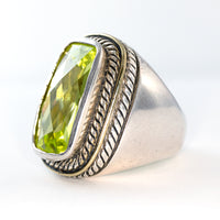 Beautify Large Sterling Silver Peridot Ring