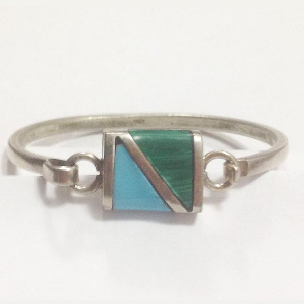 Vintage Sterling Silver Turquoise and Malachite Bracelet front
