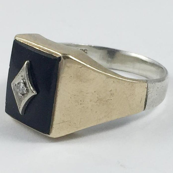 Mens 10k Gold and Onyx Diamond Ring