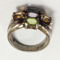 Vintage Sterling Silver Mothers Birthstone Ring side 3