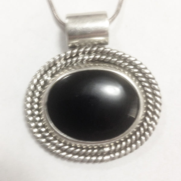 Vintage Sterling Silver Rope Necklace Black Onyx Pendant