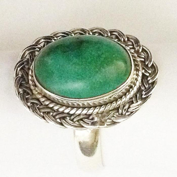 Oval Basket Weave Turquoise Ring
