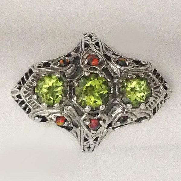 Green Peridot Filigree with Fire Opal Ring